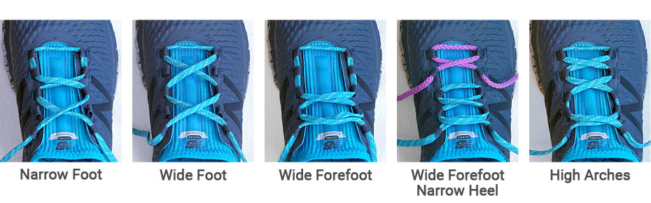 Shoelace patterns demonstrating five different variations customized to the shape of your foot.