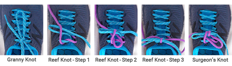 Reef knot and surgeon knots.
