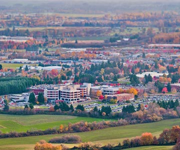 Good Samaritan Hospital and the surrounding valley in autumn.