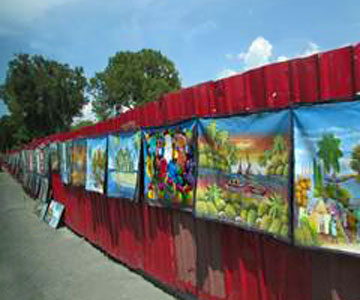 Artwork for sale in Haiti marketplace