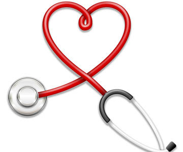 stethoscope with cord shaped like heart