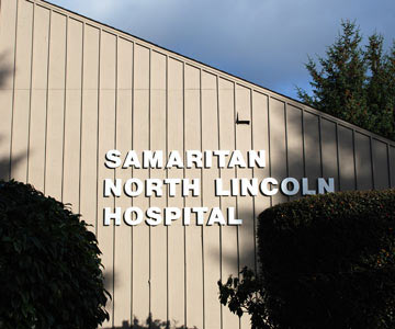 SNLH exterior sign on hospital