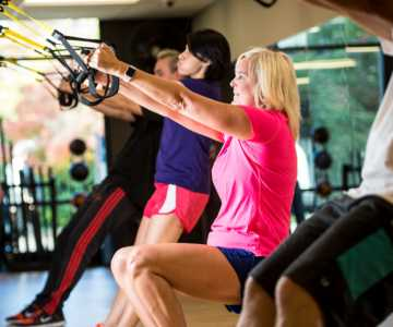 Woman Exercising at Gym