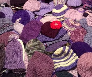 Knitted Purple Hats