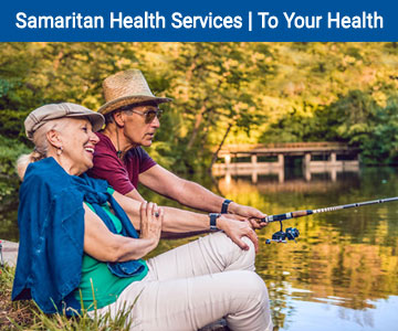 Man and woman fishing. Banner image for August 2019 To Your Health.