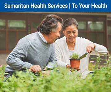 Couple planting herbs in the garden; banner image To Your Health-May 2020.