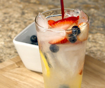 Lemonade, seltzer and fresh seasonal fruits make a refreshing summer drink.