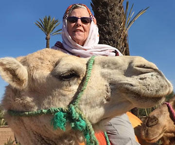 Alice had many memorable experiences in Morocco, including riding a camel!