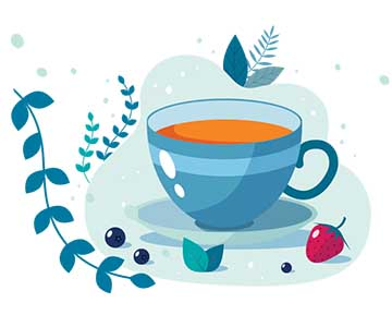 illustration of a blue cup of tea with a strawberry and various leaves and branches in the background