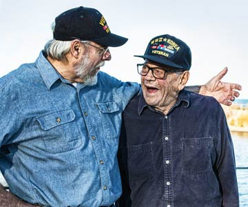 Two older veterans talking.
