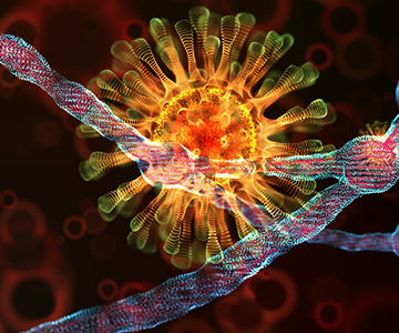 Colorful magnified image representing the COVID-19 virus..