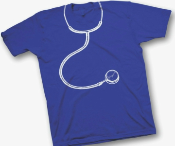 Image of bright blue T shirt with white graphic image of a stethoscope around the neck