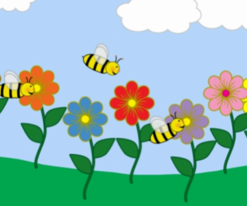 Cartoon art of bumblebees flying among brightly colored spring flowers