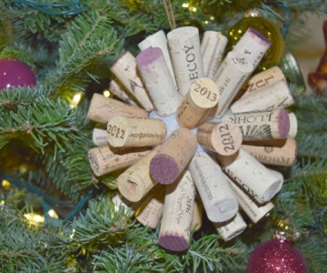 close up of tree ornament made from wine corks