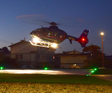 LifeFlight makes its maiden landing on the new hospital helipad in Newport, Oregon.