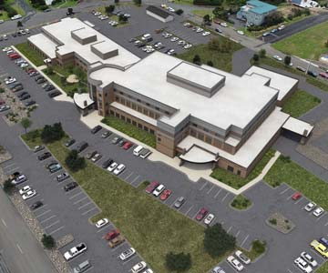 architectural rendering that shows the new hospital layout when the full project is complete