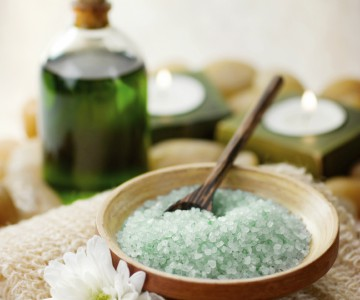 bath salts, oils and candles
