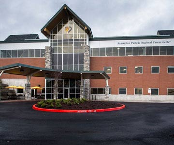 Front view of the Samaritan Pastega Regional Cancer Center in Corvallis, Oregon.