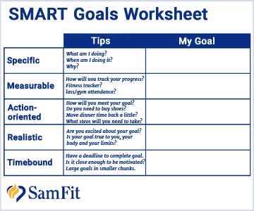 Download a SMART Goals Worksheet from SamFit.