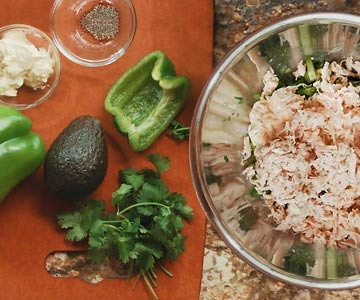 This avocado chicken salad recipe includes cilantro and bell pepper too!