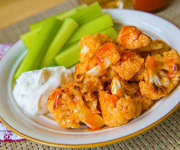 Cauliflower buffalo wings are a healthy appetizer option.