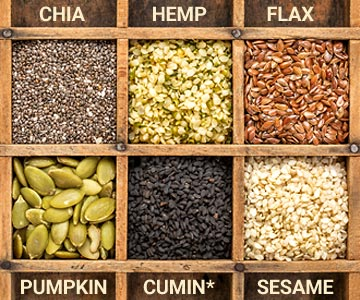Chia, hemp, flax, pumpkin, black cumin, and sesame seeds are all part of healthy diet.