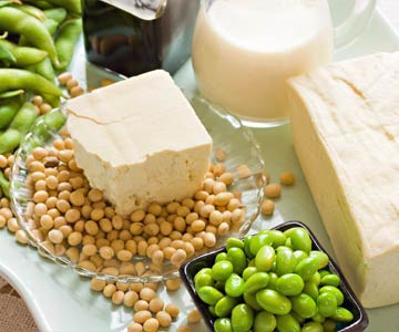 Soy products including tofu, edamame, soy milk and tempeh.