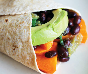 Veggie wrap with avocado.
