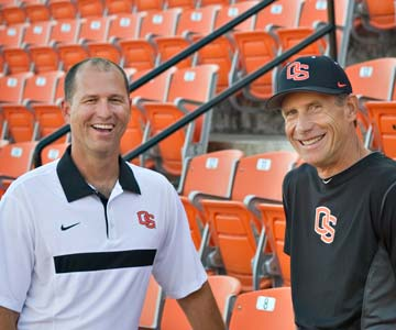 Dr. Luis Vela and OSU baseball coach Pat Casey